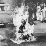 A monk burning after he set himself on fire