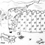 Cartoon of wallpapering the chinese wall