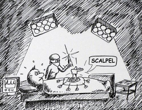 Cartoon of an operation