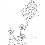 Cartoon of a clown and balloons