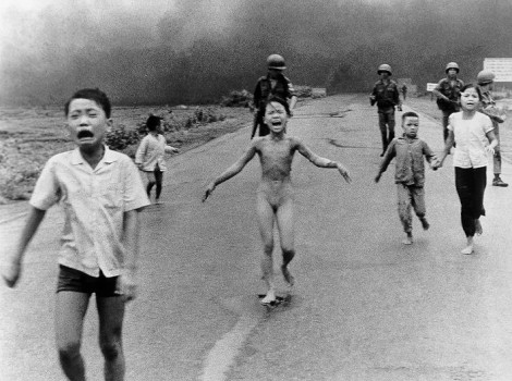 Naked girl running away from a napalm hit village