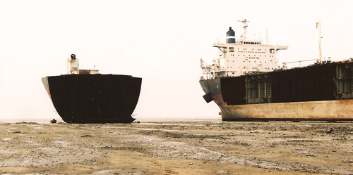 Two vessels on the beach in a Chittagong ship breaking yard