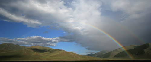 A rainbow Over the Mongolian Hills