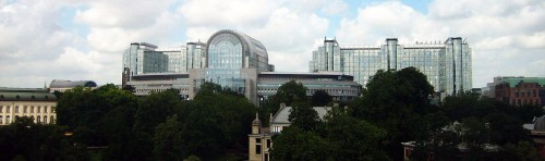 The European Parliament building complex in Brussels
