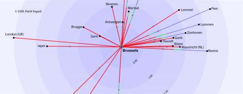 A time travel map with cities relative to Brussels